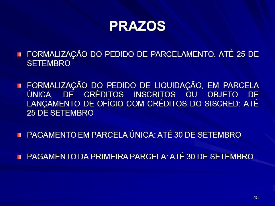 PRAZOS FORMALIZAÇÃO DO PEDIDO DE PARCELAMENTO: ATÉ 25 DE SETEMBRO