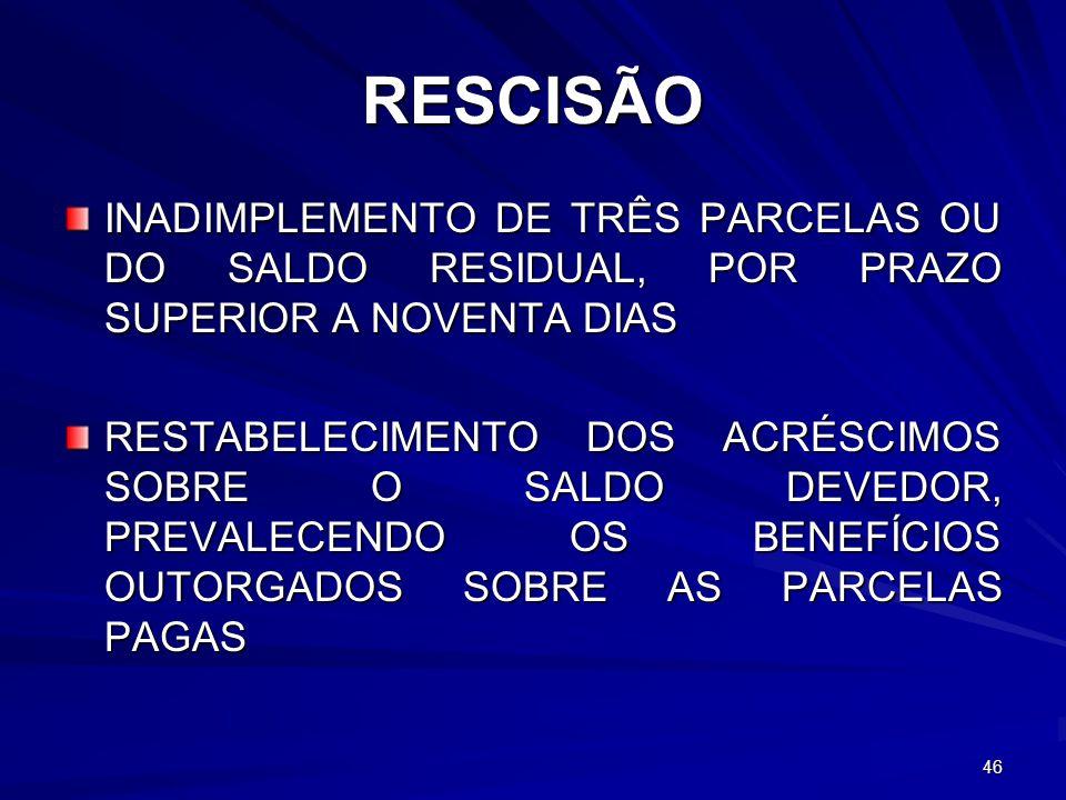 RESCISÃO INADIMPLEMENTO DE TRÊS PARCELAS OU DO SALDO RESIDUAL, POR PRAZO SUPERIOR A NOVENTA DIAS.