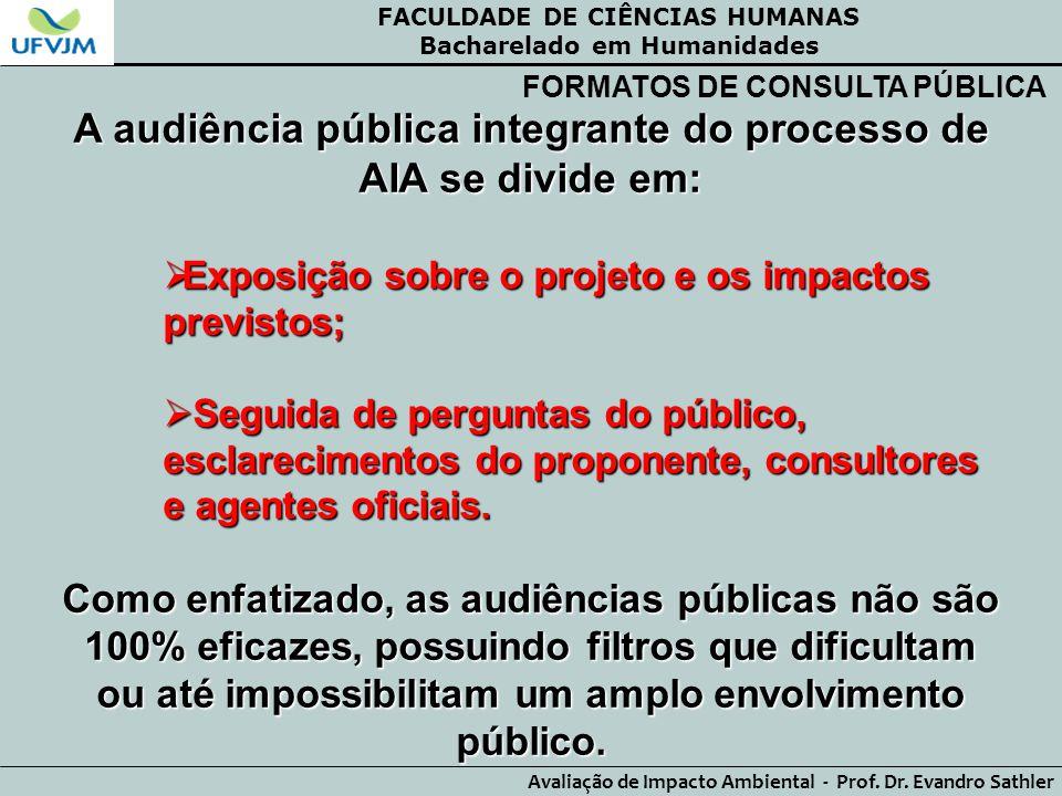 A audiência pública integrante do processo de AIA se divide em: