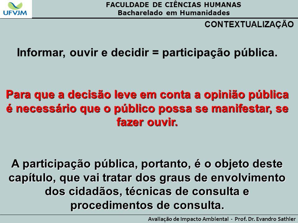 Informar, ouvir e decidir = participação pública.