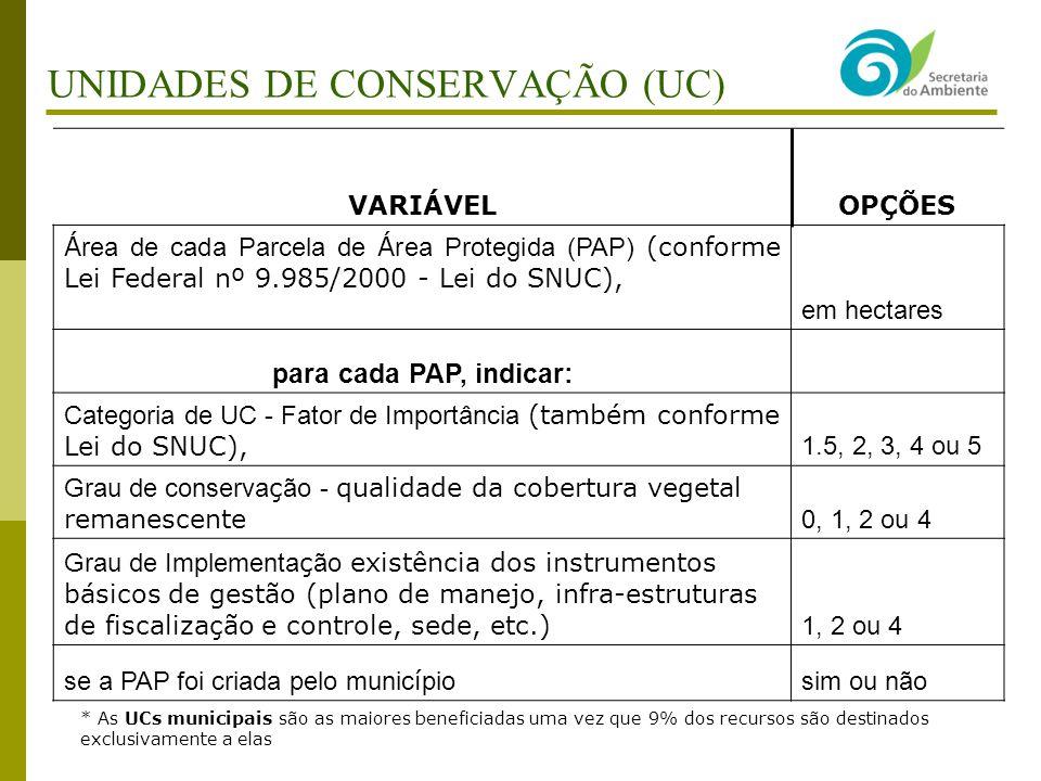 UNIDADES DE CONSERVAÇÃO (UC)