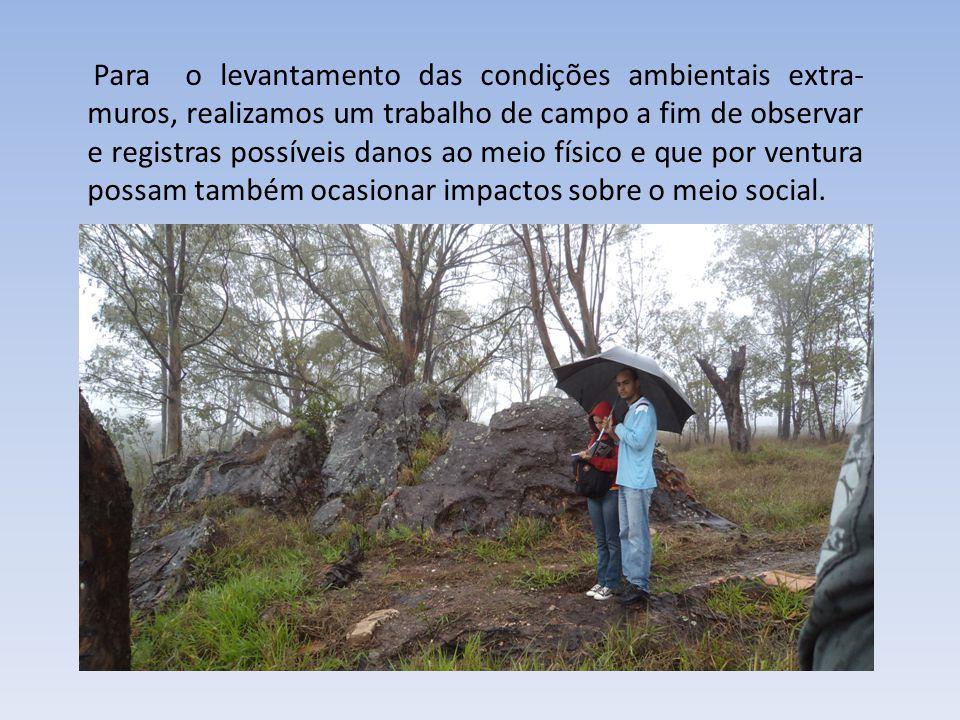 Para o levantamento das condições ambientais extra-muros, realizamos um trabalho de campo a fim de observar e registras possíveis danos ao meio físico e que por ventura possam também ocasionar impactos sobre o meio social.