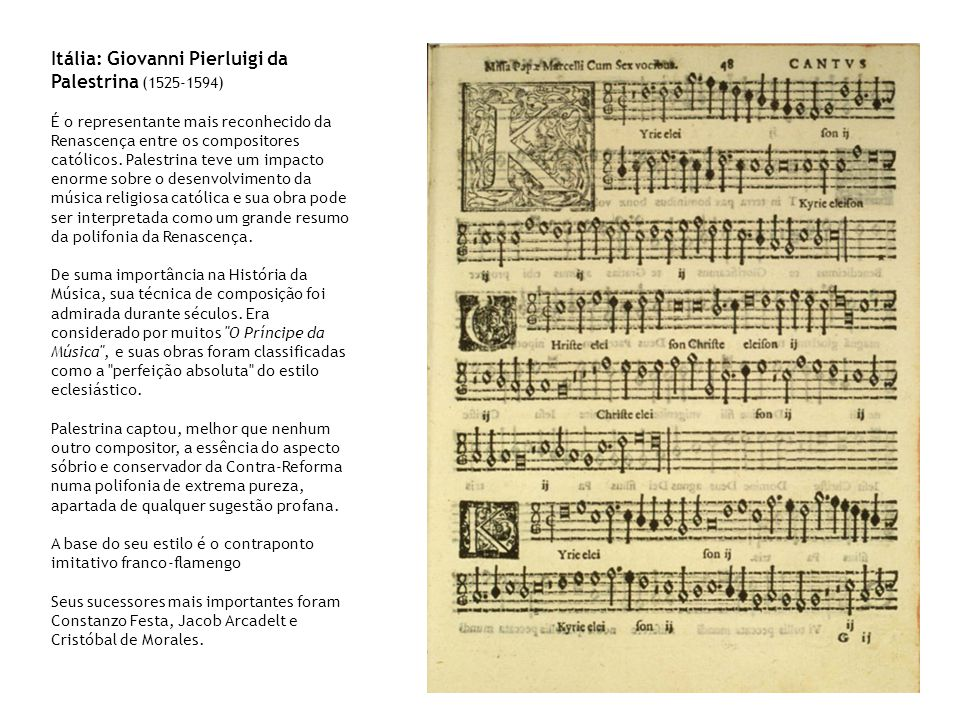 Itália: Giovanni Pierluigi da Palestrina (1525-1594)