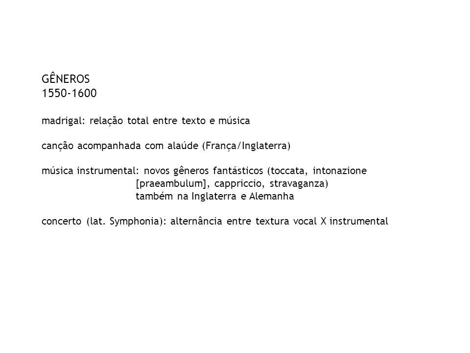 GÊNEROS 1550-1600 madrigal: relação total entre texto e música