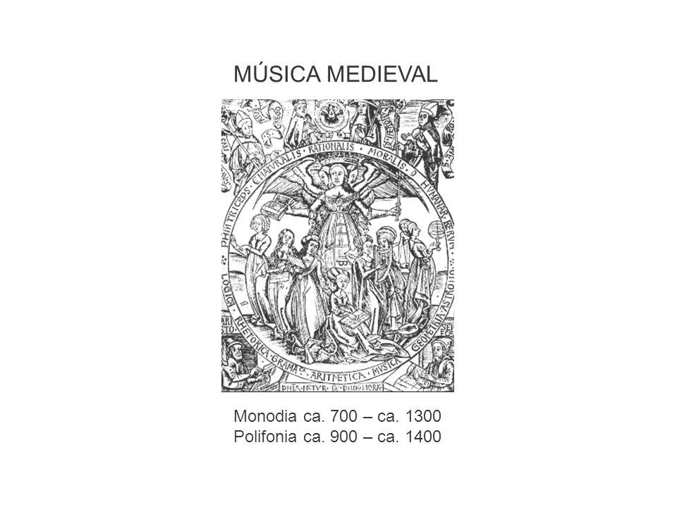 MÚSICA MEDIEVAL Monodia ca. 700 – ca. 1300