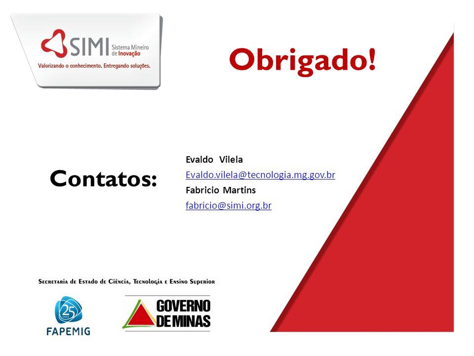 Obrigado! Contatos: Evaldo Vilela Evaldo.vilela@tecnologia.mg.gov.br