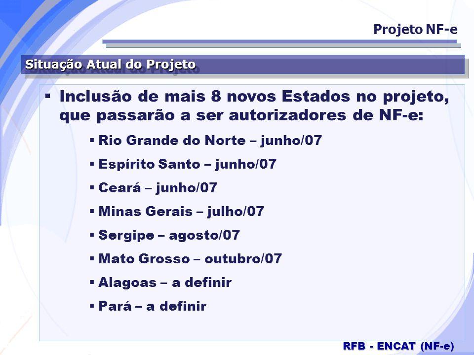 Projeto NF-e Situação Atual do Projeto. Inclusão de mais 8 novos Estados no projeto, que passarão a ser autorizadores de NF-e: