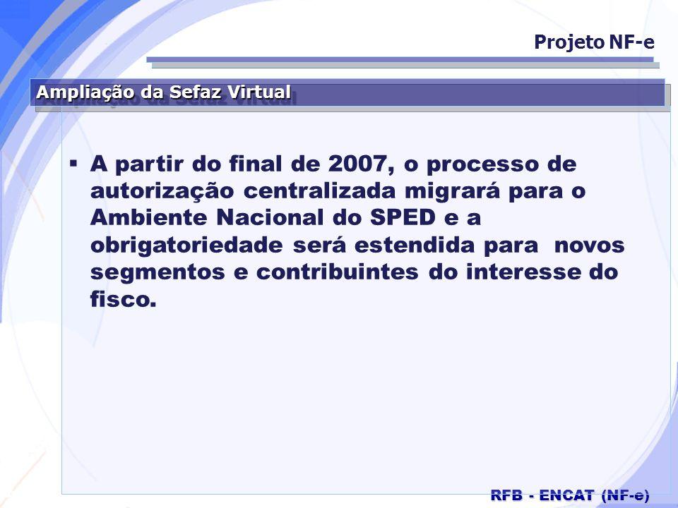 Projeto NF-e Ampliação da Sefaz Virtual.