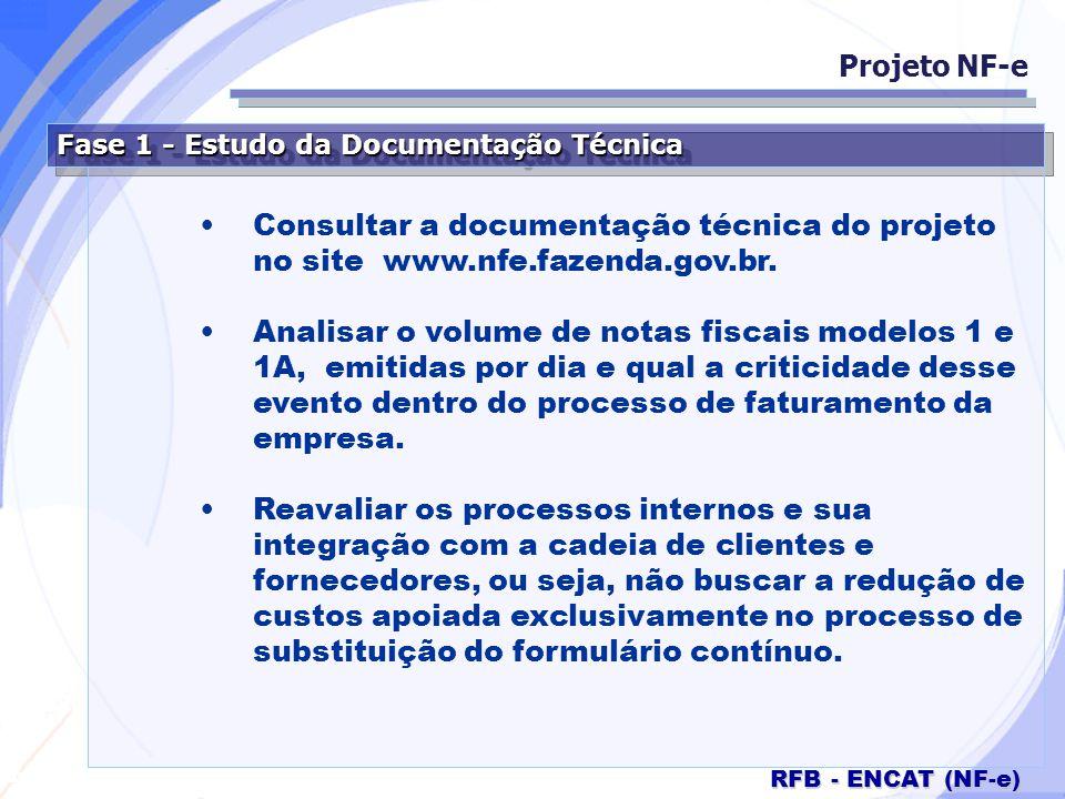 Projeto NF-e Fase 1 - Estudo da Documentação Técnica. Consultar a documentação técnica do projeto no site www.nfe.fazenda.gov.br.