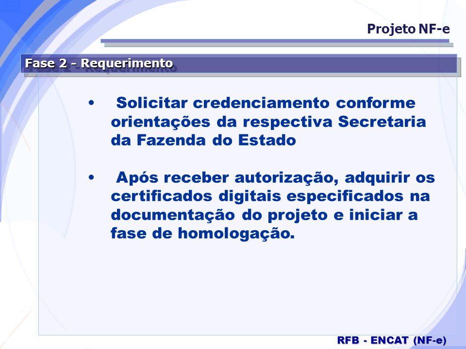 Projeto NF-e Fase 2 - Requerimento. Solicitar credenciamento conforme orientações da respectiva Secretaria da Fazenda do Estado.