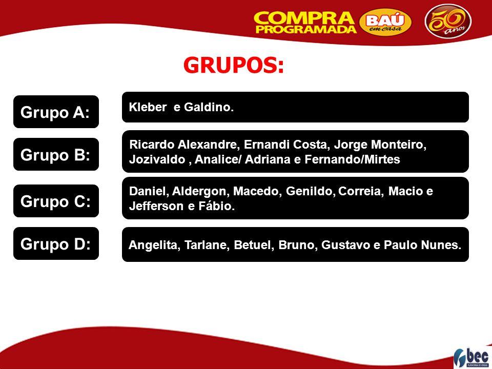 GRUPOS: Grupo A: Grupo B: Grupo C: Grupo D: Kleber e Galdino.