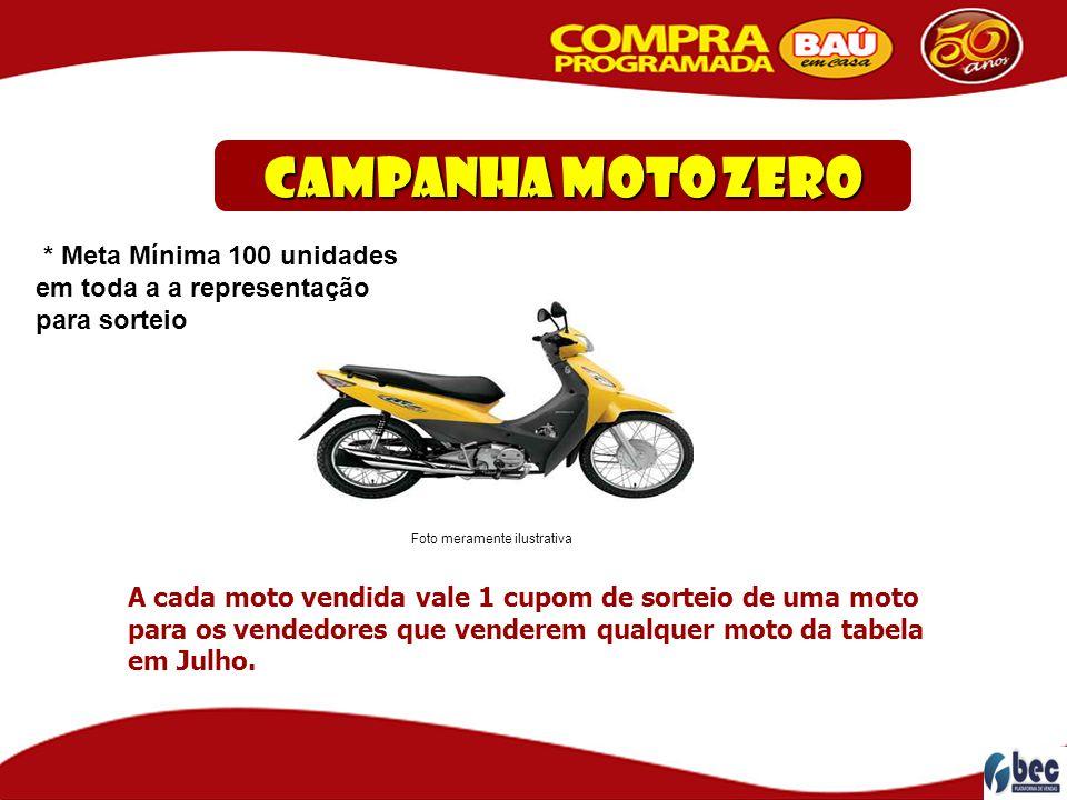 Campanha Moto ZERO * Meta Mínima 100 unidades em toda a a representação para sorteio. Foto meramente ilustrativa.