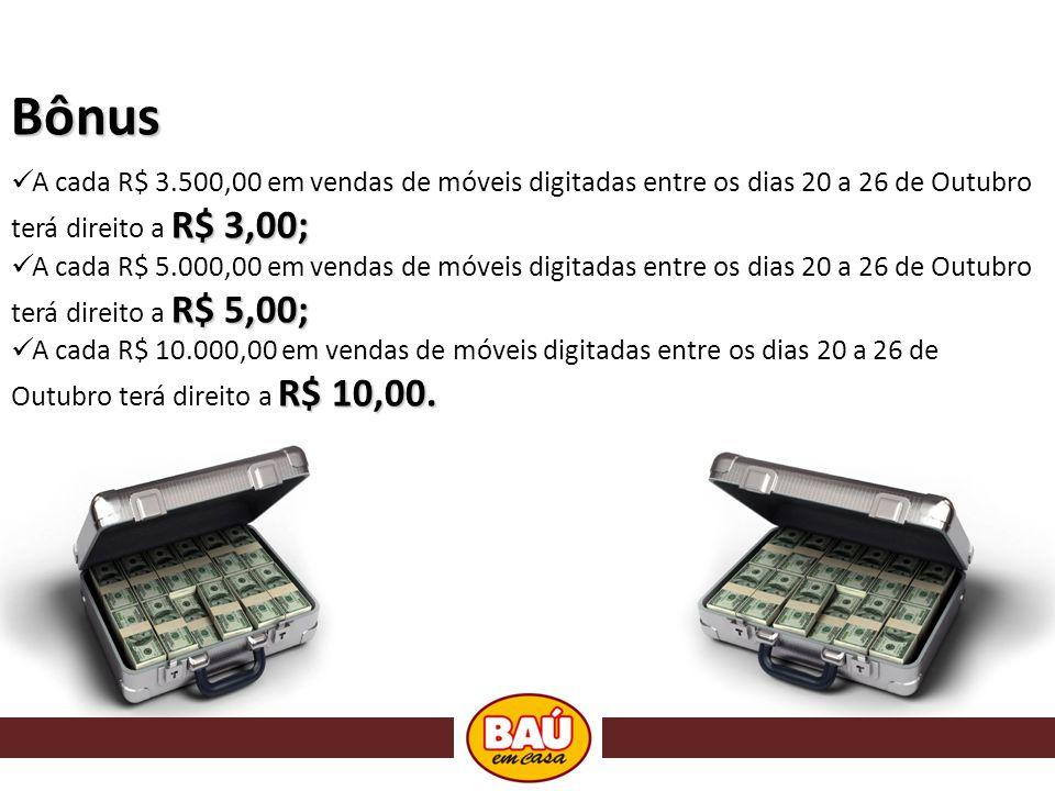 Bônus A cada R$ 3.500,00 em vendas de móveis digitadas entre os dias 20 a 26 de Outubro terá direito a R$ 3,00;