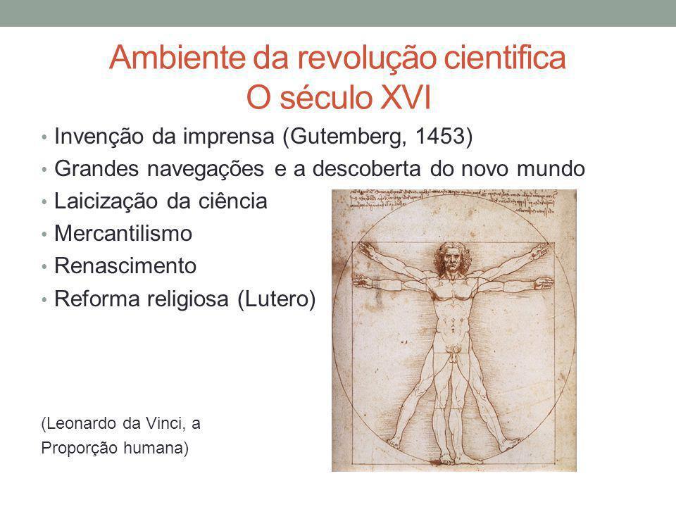 Ambiente da revolução cientifica O século XVI