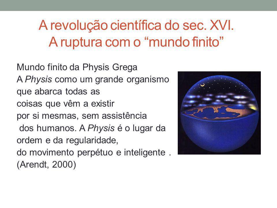 A revolução científica do sec. XVI. A ruptura com o mundo finito