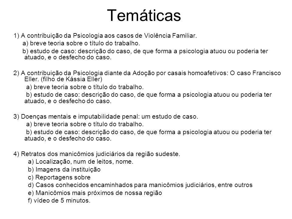 Temáticas 1) A contribuição da Psicologia aos casos de Violência Familiar. a) breve teoria sobre o título do trabalho.