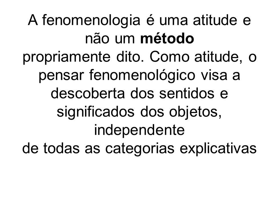 A fenomenologia é uma atitude e não um método propriamente dito