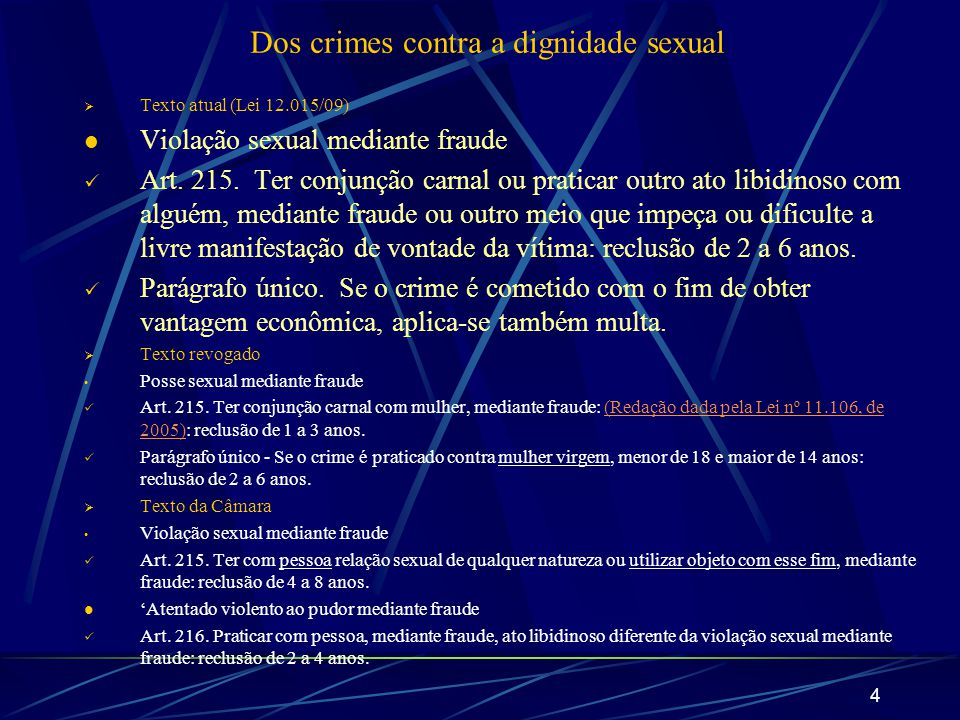 Dos crimes contra a dignidade sexual