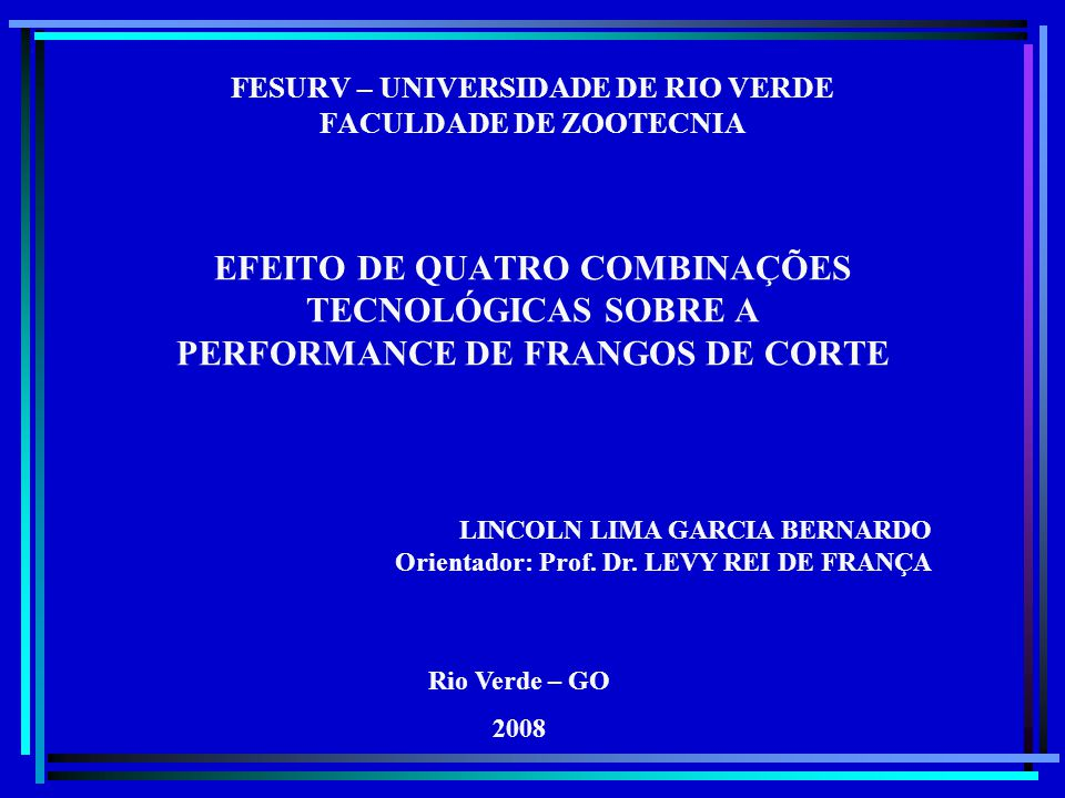 FESURV – UNIVERSIDADE DE RIO VERDE FACULDADE DE ZOOTECNIA