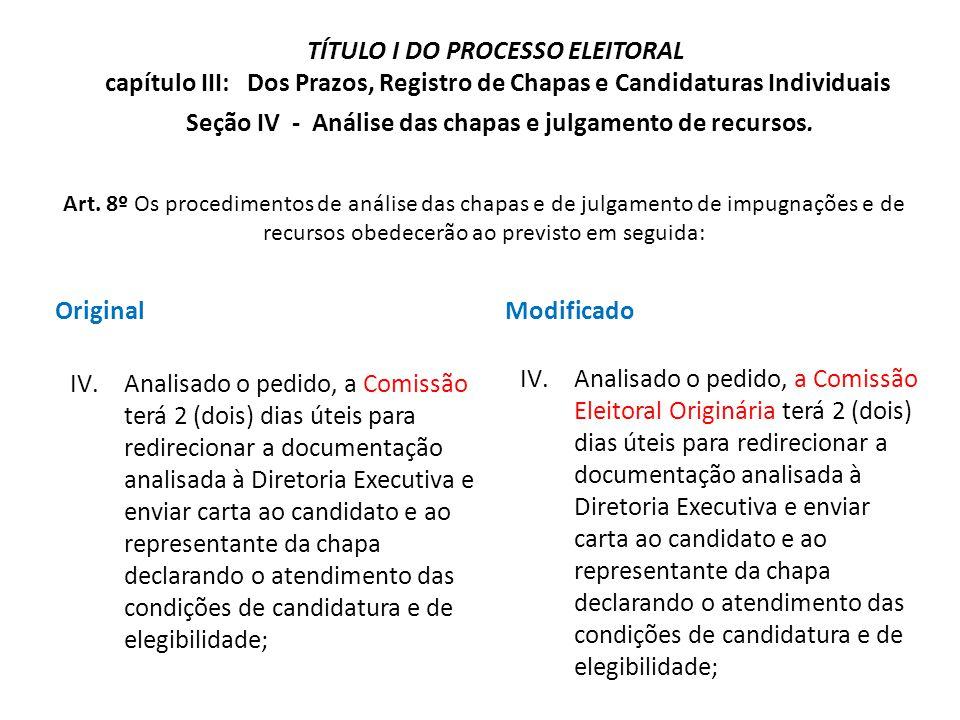 Seção IV - Análise das chapas e julgamento de recursos.