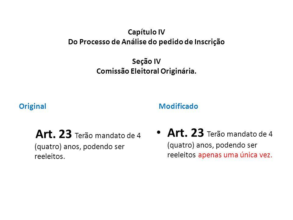 Art. 23 Terão mandato de 4 (quatro) anos, podendo ser reeleitos.