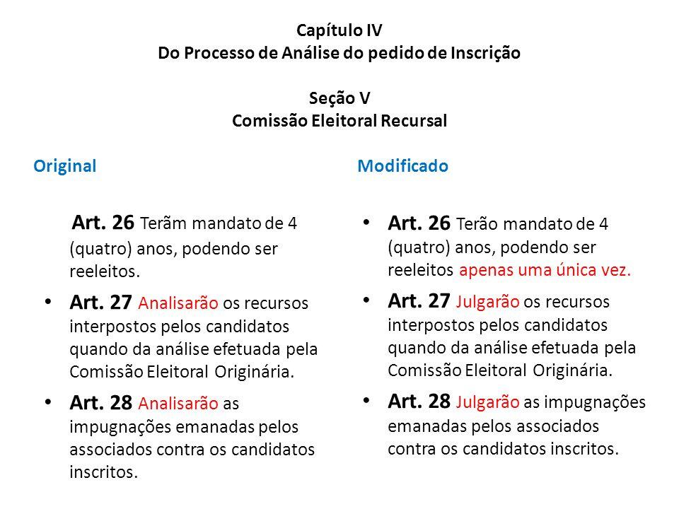 Art. 26 Terãm mandato de 4 (quatro) anos, podendo ser reeleitos.