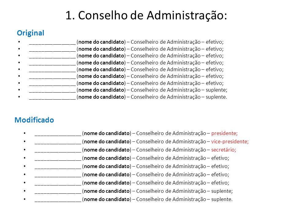 1. Conselho de Administração: