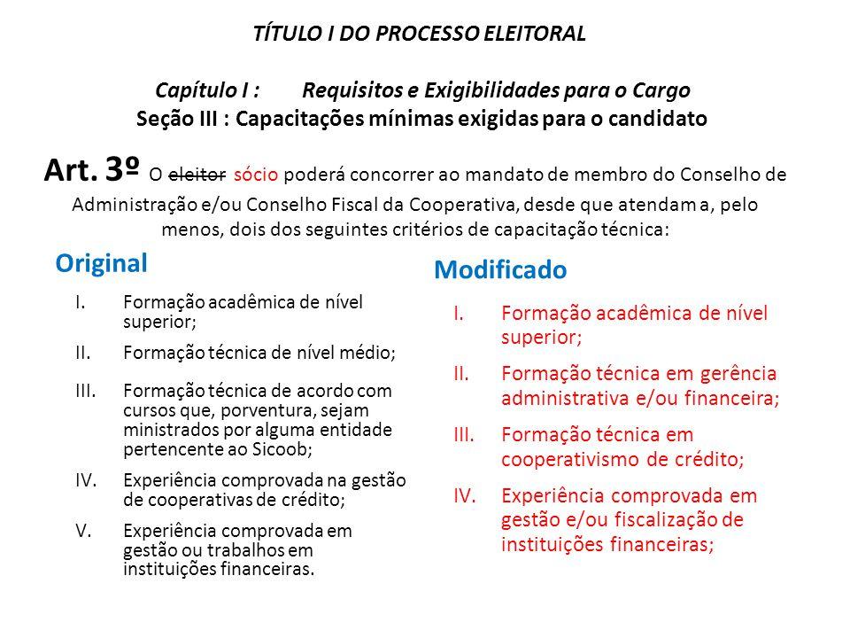 TÍTULO I DO PROCESSO ELEITORAL Capítulo I : Requisitos e Exigibilidades para o Cargo Seção III : Capacitações mínimas exigidas para o candidato