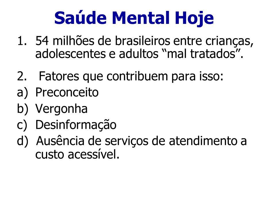 Saúde Mental Hoje 54 milhões de brasileiros entre crianças, adolescentes e adultos mal tratados . 2. Fatores que contribuem para isso: