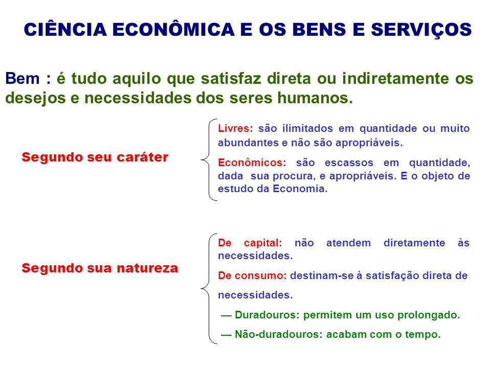 CIÊNCIA ECONÔMICA E OS BENS E SERVIÇOS