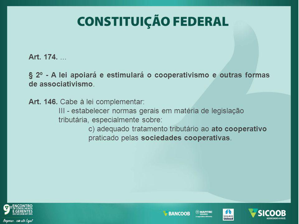 Art. 174. ... § 2º - A lei apoiará e estimulará o cooperativismo e outras formas de associativismo.
