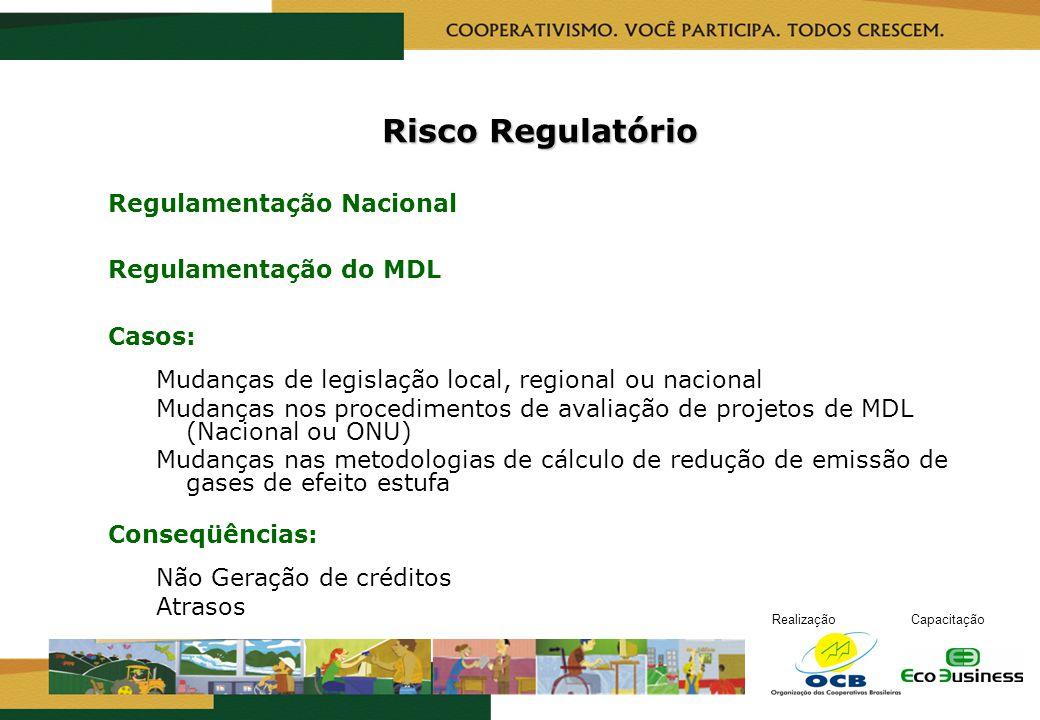 Risco Regulatório Regulamentação Nacional Regulamentação do MDL Casos: