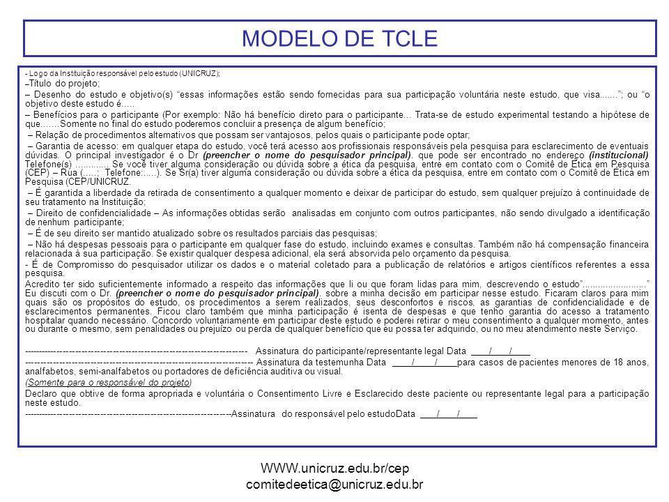 MODELO DE TCLE WWW.unicruz.edu.br/cep comitedeetica@unicruz.edu.br