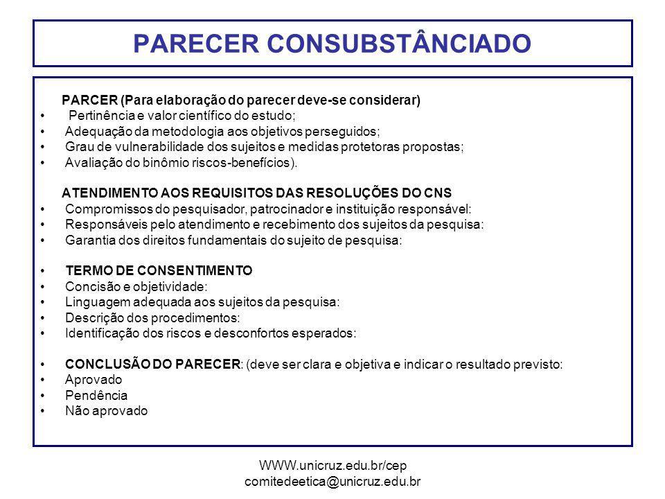 PARECER CONSUBSTÂNCIADO