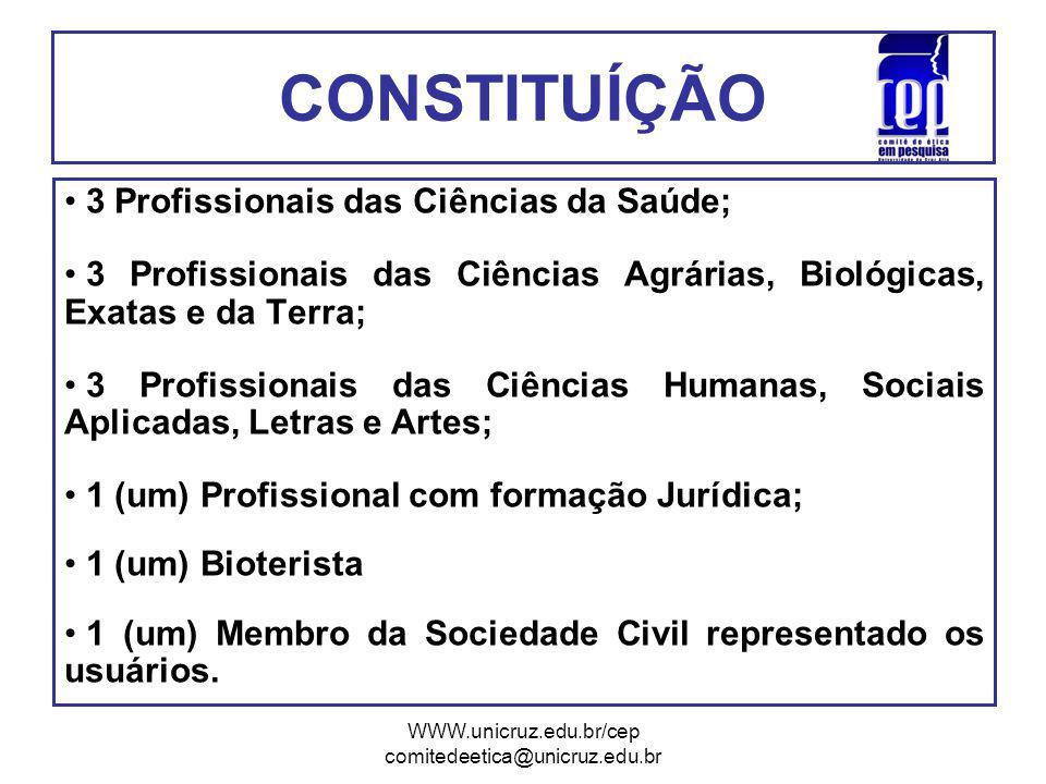 CONSTITUÍÇÃO 3 Profissionais das Ciências da Saúde;