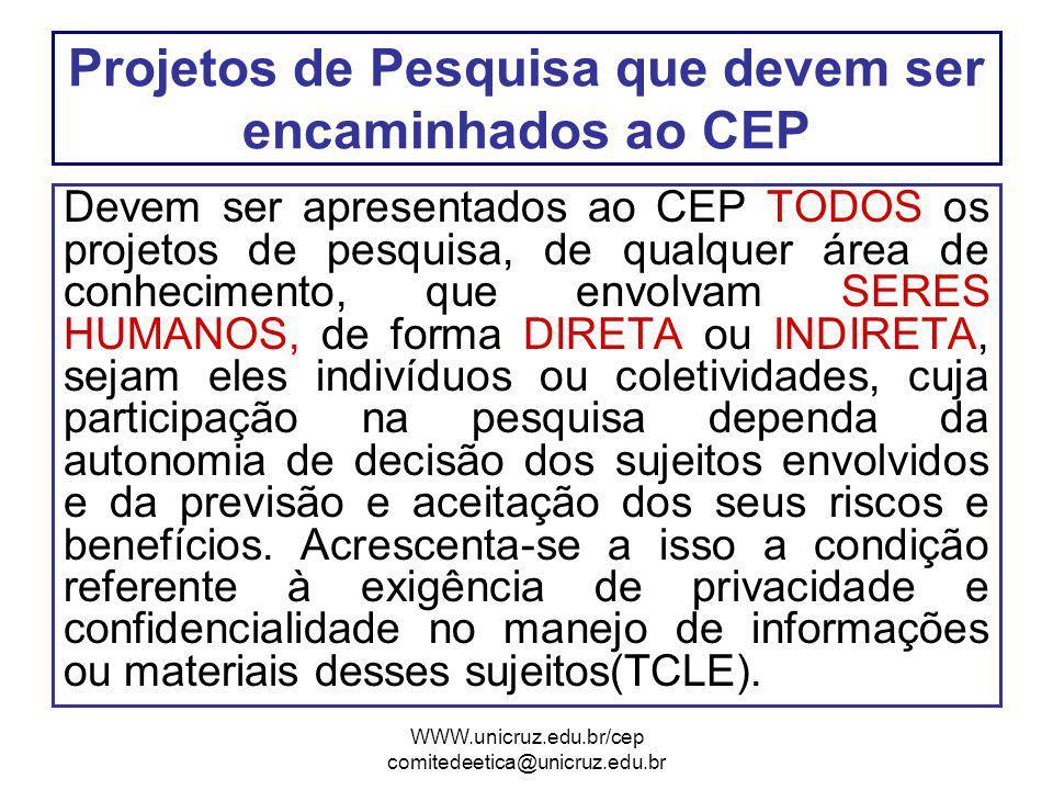 Projetos de Pesquisa que devem ser encaminhados ao CEP