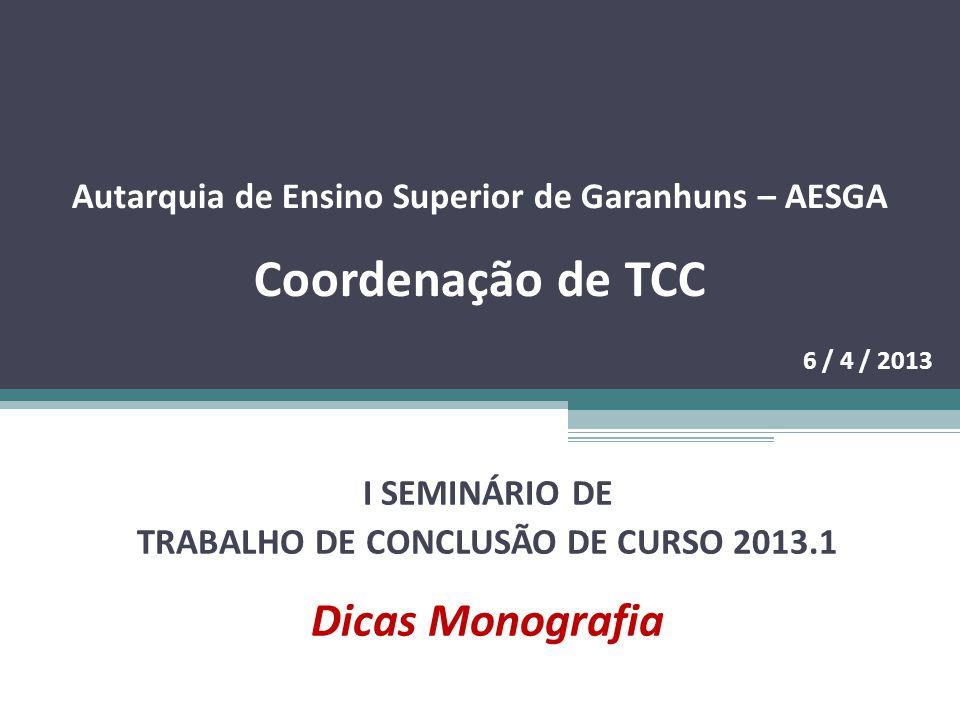 TRABALHO DE CONCLUSÃO DE CURSO 2013.1