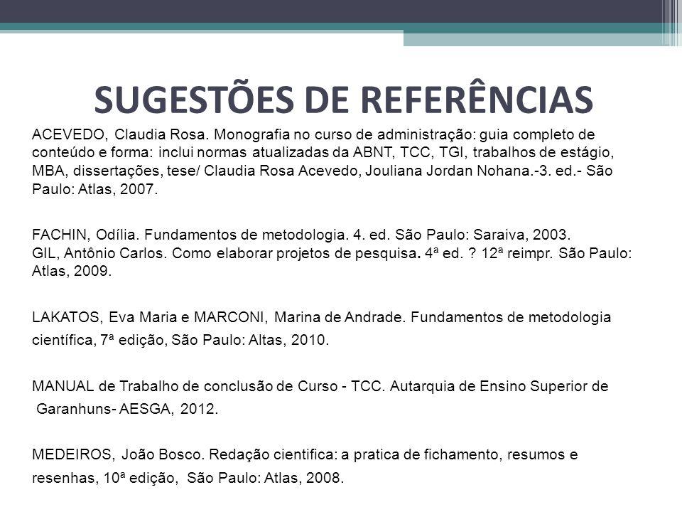 SUGESTÕES DE REFERÊNCIAS