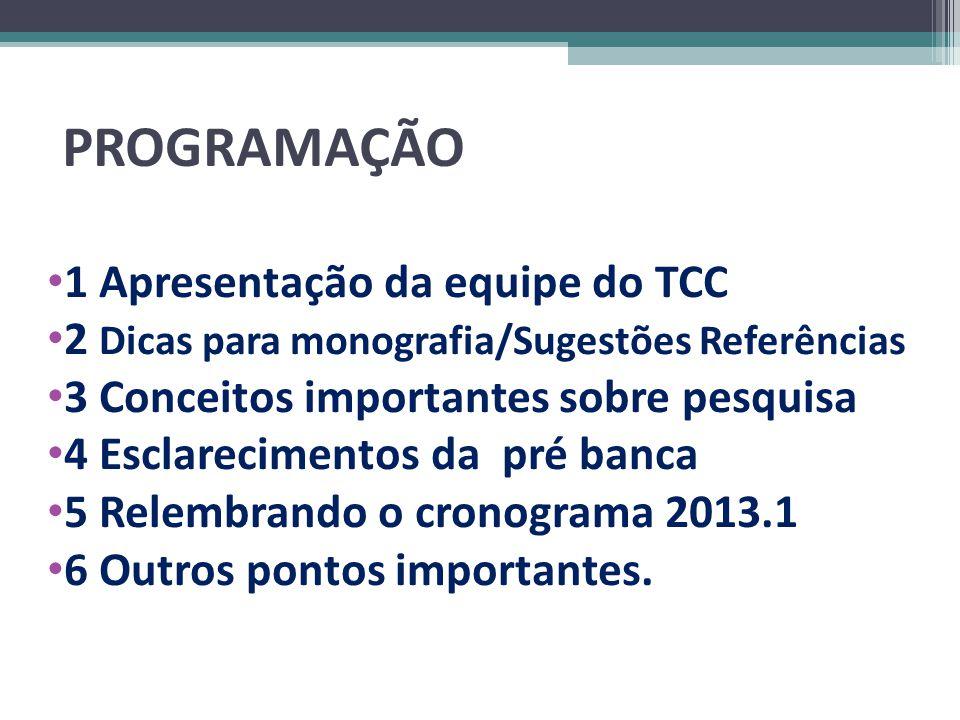 PROGRAMAÇÃO 1 Apresentação da equipe do TCC