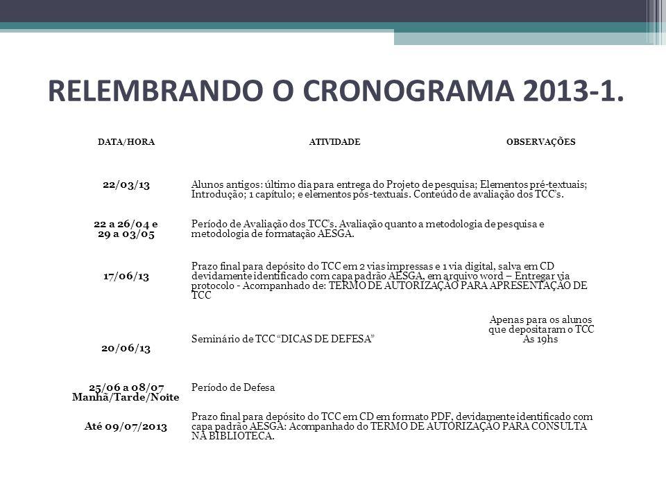 RELEMBRANDO O CRONOGRAMA 2013-1. 25/06 a 08/07 Manhã/Tarde/Noite