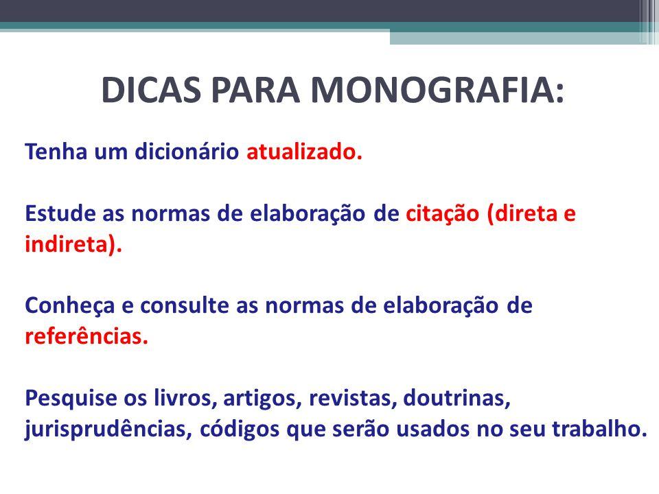 DICAS PARA MONOGRAFIA: