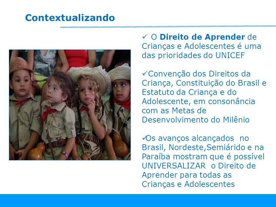 Contextualizando O Direito de Aprender de Crianças e Adolescentes é uma das prioridades do UNICEF.