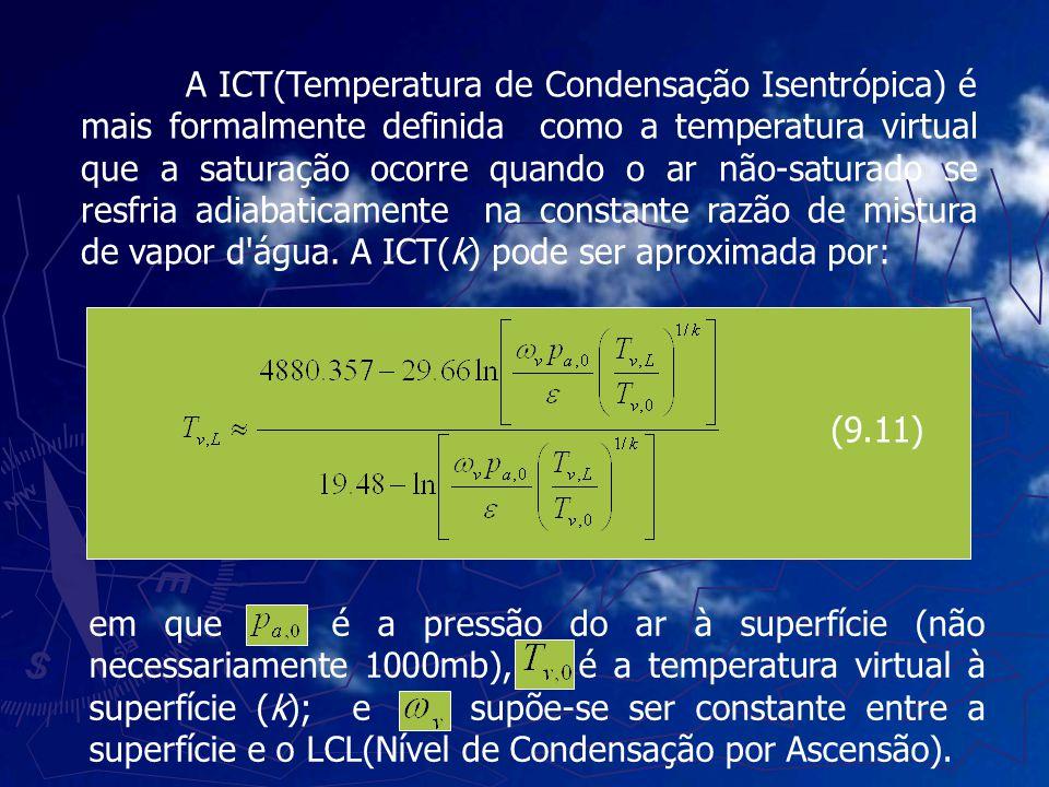 A ICT(Temperatura de Condensação Isentrópica) é mais formalmente definida como a temperatura virtual que a saturação ocorre quando o ar não-saturado se resfria adiabaticamente na constante razão de mistura de vapor d água. A ICT(k) pode ser aproximada por:
