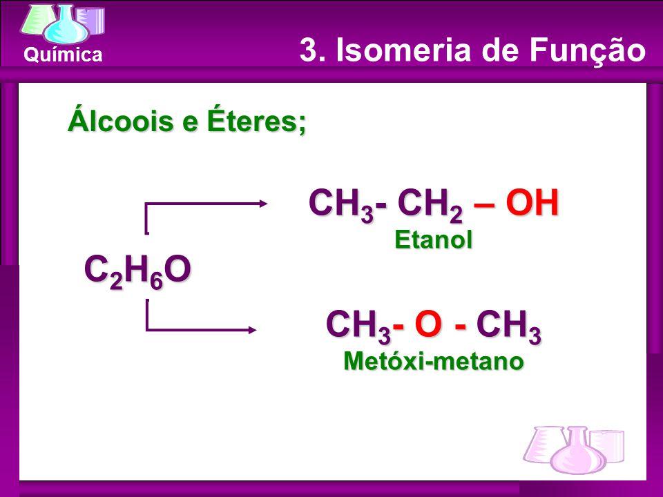 CH3- CH2 – OH C2H6O CH3- O - CH3 3. Isomeria de Função