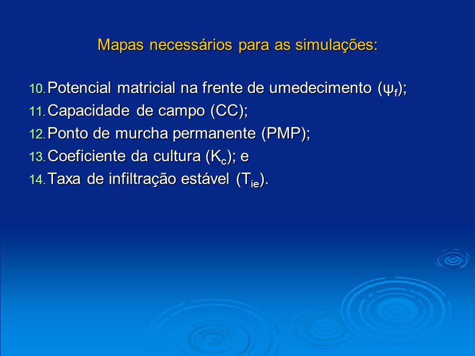 Mapas necessários para as simulações: