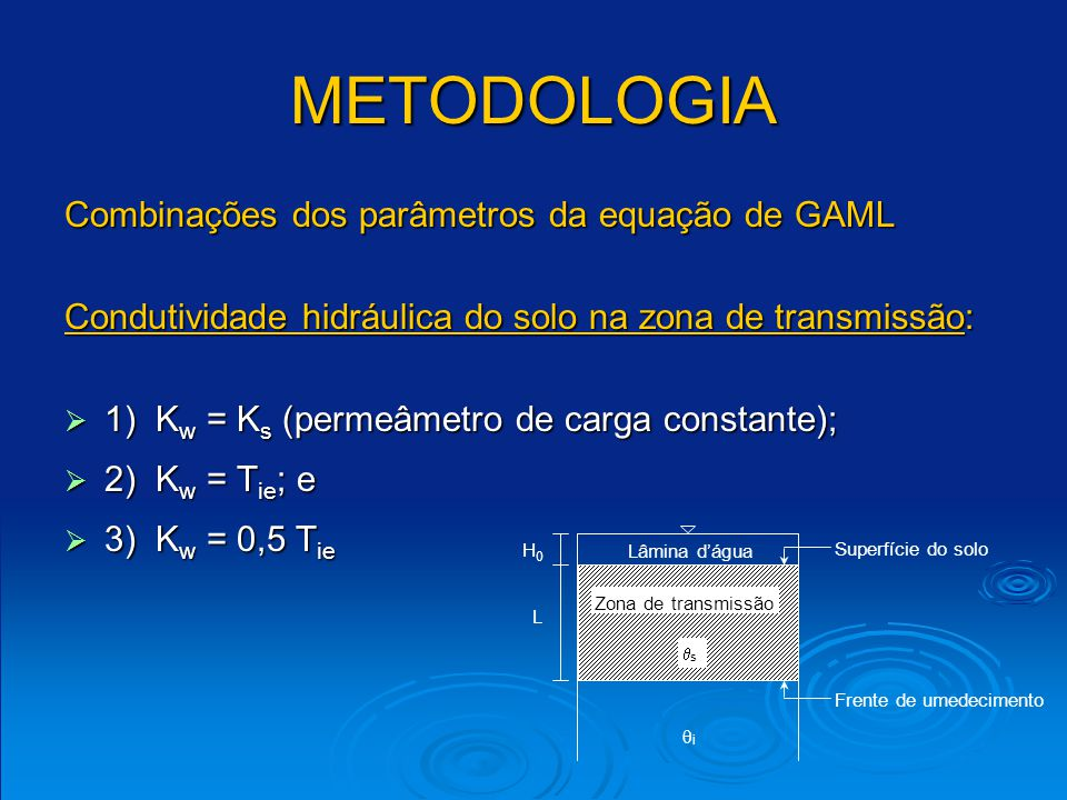 METODOLOGIA Combinações dos parâmetros da equação de GAML