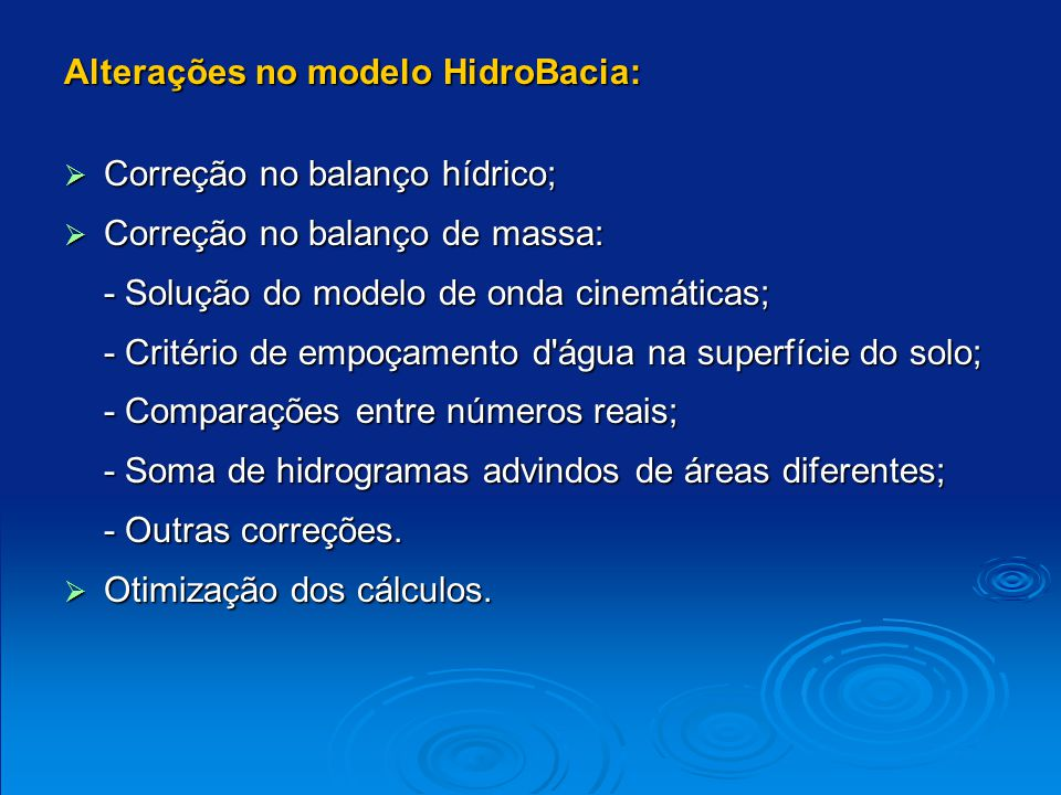 Alterações no modelo HidroBacia: