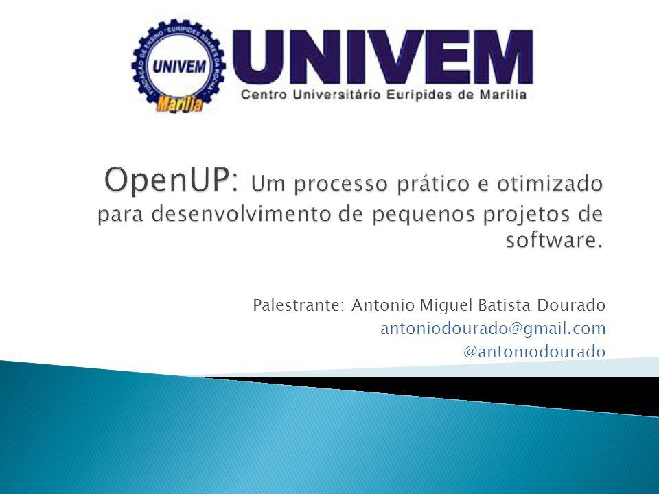 OpenUP: Um processo prático e otimizado para desenvolvimento de pequenos projetos de software.