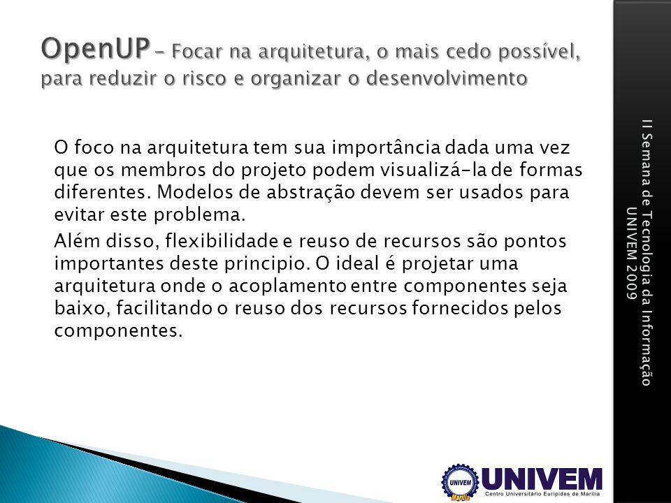 OpenUP - Focar na arquitetura, o mais cedo possível, para reduzir o risco e organizar o desenvolvimento