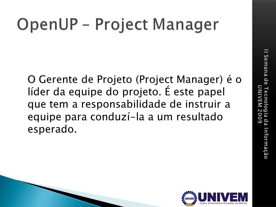 OpenUP – Project Manager